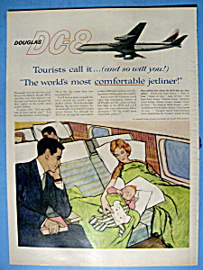 1959 Douglas Dc-8 With A Woman & Child
