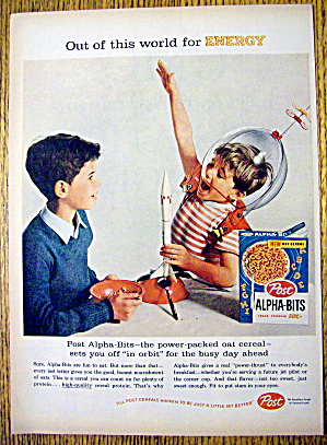 1959 Post Alpha Bits Cereal With Boy In Space Suit