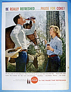 1959 Coca Cola (Coke) With Woman & A Horse