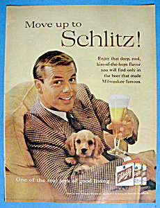 1960 Schlitz Beer with Man Holding a Puppy & a Glass (Image1)