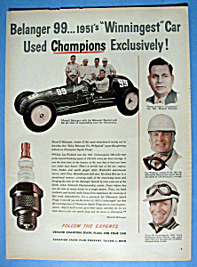 Vintage Ad: 1952 Champion Spark Plugs w/M. Belanger (Image1)