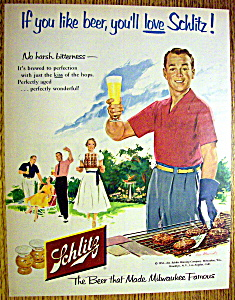 1954 Schlitz Beer with Man Drinking Glass Of Beer (Image1)