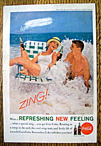 1961 Coca Cola (Coke) With Girl & Boy On The Beach