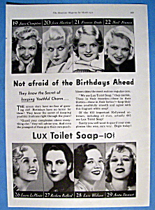 Vintage Ad: 1932 Lux Toilet Soap W/ Harlow, Compton