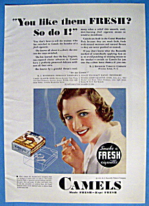 1932 Camel Cigarettes W/woman Smoking A Cigarette