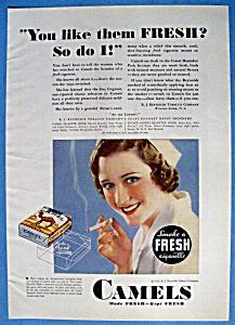 1932 Camel Cigarettes w/Woman Smoking a Cigarette (Image1)