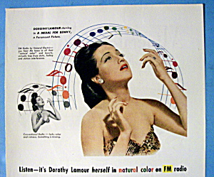 Vintage Ad:1945 General Electric Radio W/dorothy Lamour