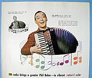 Vintage Ad: 1945 General Electric Radio w/ Phil Baker (Image1)