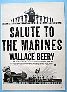 Vintage Ad: 1943 Salute To The Marines W/wallace Beery