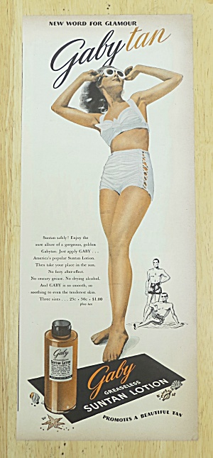 1945 Gaby Suntan Lotion with Woman In Bathing Suit (Image1)