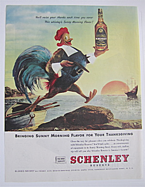 1946 Schenley Whiskey With Rooster Walking Off A Boat