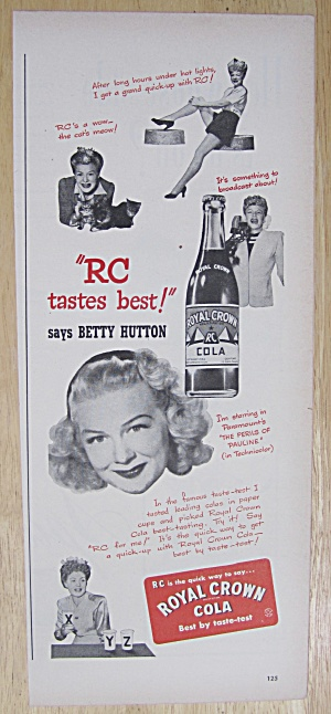 1947 (RC Cola) Royal Crown Cola with Betty Hutton  (Image1)