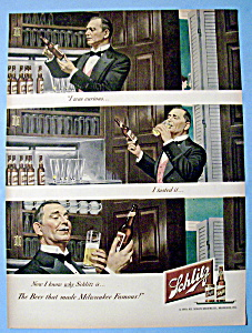 1949 Schlitz Beer with Butler Trying a Bottle of Beer (Image1)