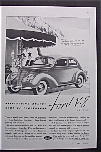 1937 Ford V-8 with a Great Black & White Picture of V-8 (Image1)