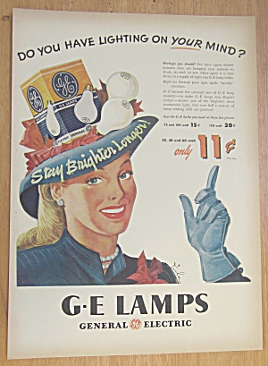 1946 General Electric Lamps with Woman Wearing Bulb Hat (Image1)