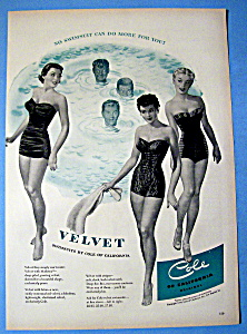 Vintage Ad: 1950 Velvet Swimsuits By Cole Of California (Image1)