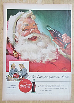 1955 Coca Cola (Coke) with Santa Claus Drinking Soda  (Image1)