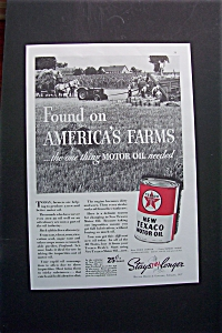 1937 Texaco Motor Oil With Can Of Oil & Scene Of Farm