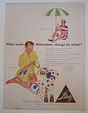 1952 Blatz Beer with Woman Pouring Beer in a Glass  (Image1)