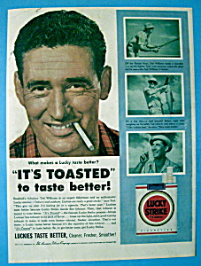 Vintage Ad: 1954 Lucky Strike Cigarette w/ Ted Williams (Image1)