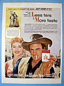 Vintage Ad: 1958 L & M Cigarettes w/J Arness & A Blake (Image1)