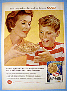 Vintage Ad: 1958 Post Alpha Bits Cereal