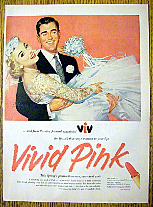 1956 Vivid Pink Lipstick with Groom Carrying Bride (Image1)