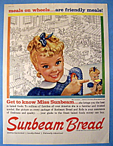 Miss Sunbeam Vintage Bread Advertising poster reproduction.