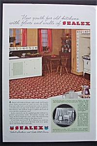 1935 Sealex Inlaid Linoleum & Wall Covering w/ Kitchen (Image1)