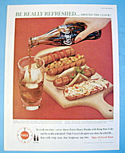 1960 Coca Cola With A Glass Of Coke With Hot Dogs