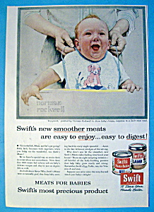1956 Swift's Meat W/baby Smiling By Norman Rockwell