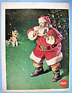 1961 Coca Cola With Santa Claus Shushing A Puppy