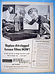 Vintage Ad: 1951 Owens Corning Dust Stop Air Filters (Image1)