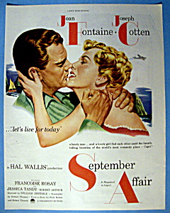 Vintage Ad: 1951 September Affair W/ Fontaine & Cotten
