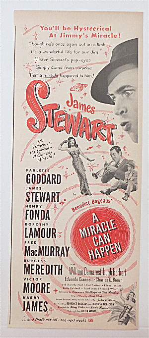 1948 Movie Ad For A Miracle Can Happen W/ James Stewart