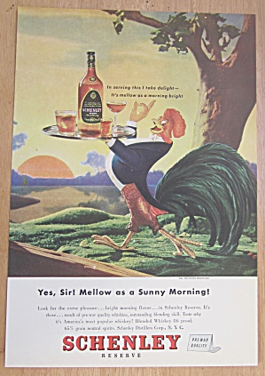1946 Schenley Whiskey With Rooster Carrying Tray
