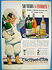 1940 Clicquot Club Soda With Eskimo Holding Bottle
