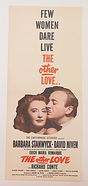 1947 Movie Ad For The Other Love W/barbara Stanwyck