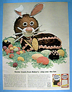 1963 Bakers Chocolate Chips & Coconut W/egg Shaped Cake