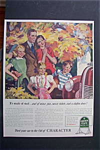 1940 Quaker State Motor Oil With Happy Family With Car