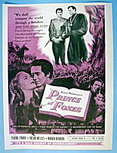 Vintage Ad: 1949 Prince Of Foxes W/ Tyrone Power