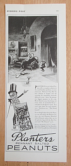 1924 Planters Pennant Peanuts with Man & Woman on Couch (Image1)