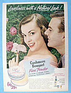 Vintage Ad: 1951 Cashmere Bouquet Face Powder (Image1)