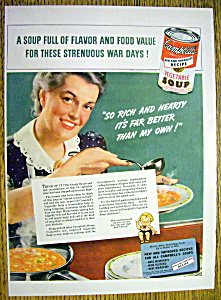 1943 Campbell's Vegetable Soup W/woman Ladling Soup