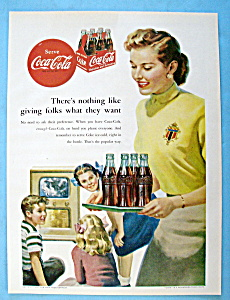 1952 Coca Cola (Coke) With Woman Carrying A Tray