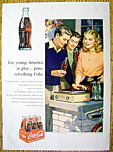 1953 Coca Cola (Coke) W/people Listening To Records