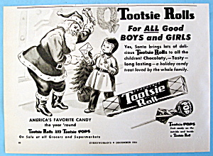 Vintage Ad: 1954 Tootsie Rolls With Santa Claus