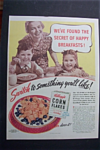 1940 Kellogg's Corn Flakes Cereal with Mom & Kids (Image1)