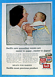 1956 Swift's Meats With Mom & Baby By Norman Rockwell