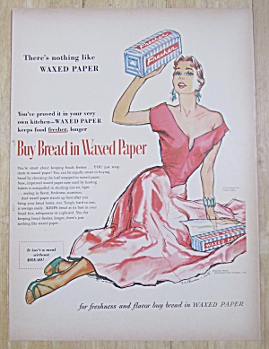1954 Waxed Paper with Woman Holding Loaf of Bread (Image1)